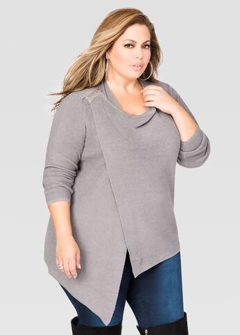 Zip Shoulder Wrap Sweater