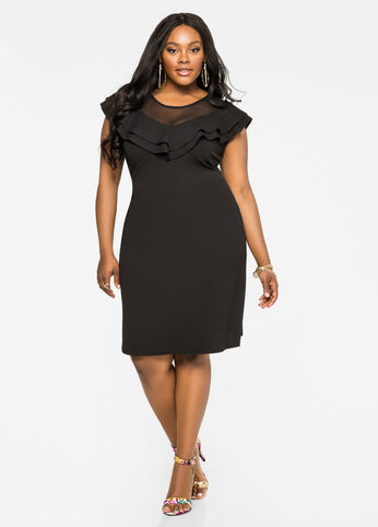 Double Ruffle Mesh Dress