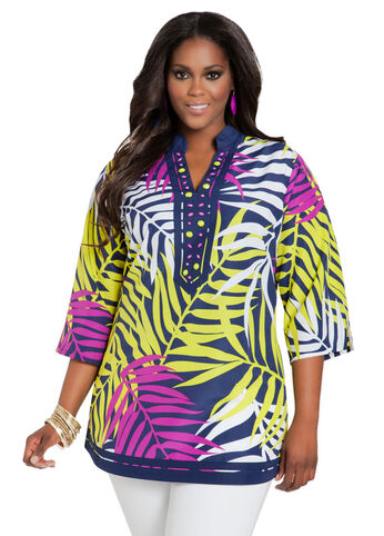 Beaded Tropical Print Tunic Top