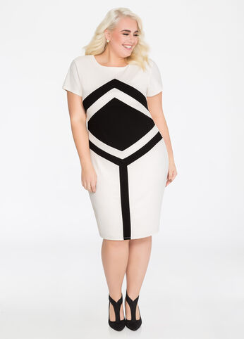 Bull's-eye Colorblock Sheath Dress