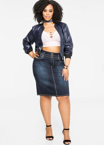 Three-Button Jean Skirt Indigo - Clearance