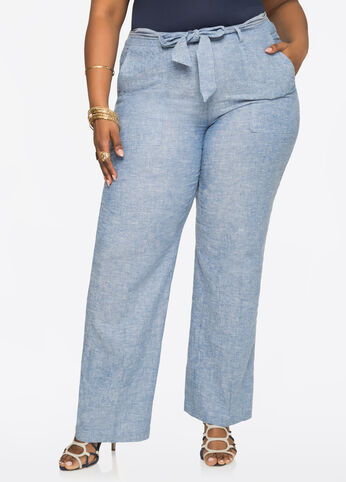 Tie Waist Chambray Linen Pants