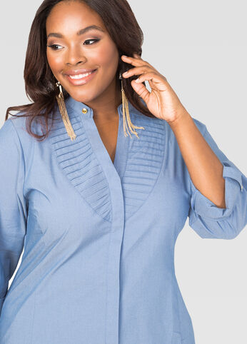 Pleat Front Chambray Shirt