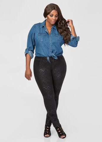 Metallic Chevron Skinny Jean