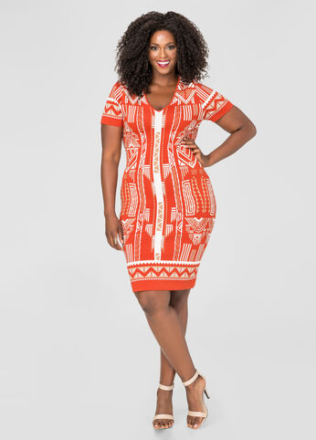 Tribal Jacquard Bodycon Dress