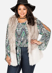 Colorblock Faux Fur Vest