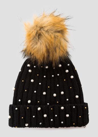 Fur Pom Metallic Bead Beanie Hat
