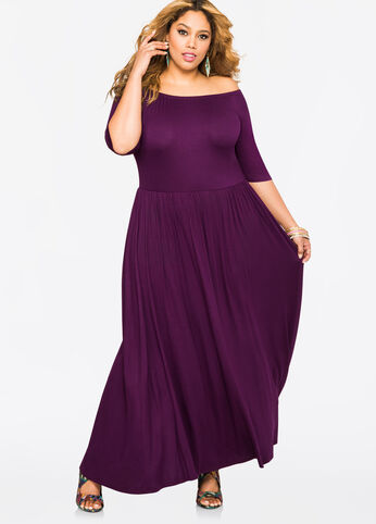 Off-Shoulder T-Shirt Maxi Dress