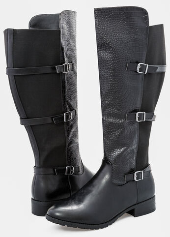 Croc Front Flat Tall Boot - Wide Width Wide Calf