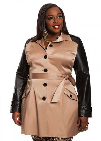 Button Front Trench Coat