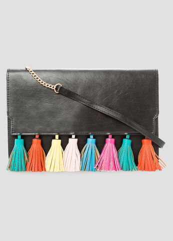 Multi-Color Tassel Crossbody Bag