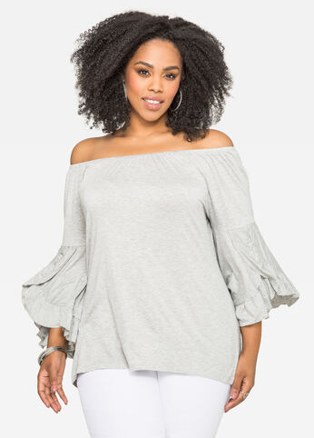 Ruffle Sleeve Off-Shoulder Top