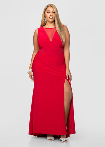 Plunging Neckline High Slit Gown
