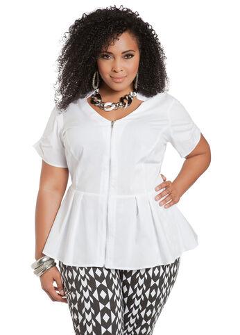 Zipper Front Peplum Shirt