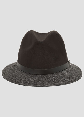 Herringbone Tweed Fedora Hat