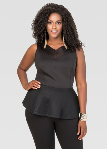 Mesh Neoprene Peplum Top