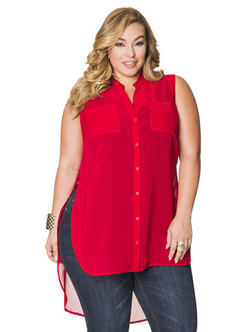 Sheer Button Front Hi-Lo Duster