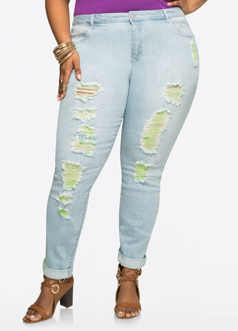 Mint Thread Ripped Skinny Jean