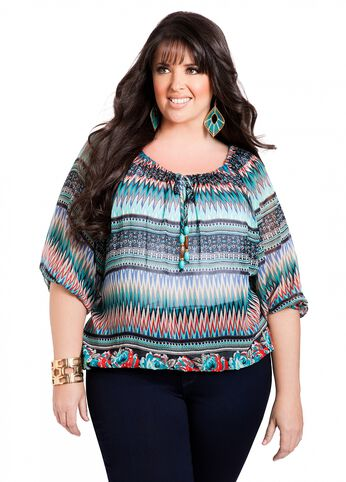 Web Exclusive: Aztec Print Peasant Top