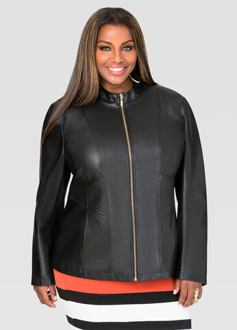 Trapunto Stitch Faux Leather Jacket