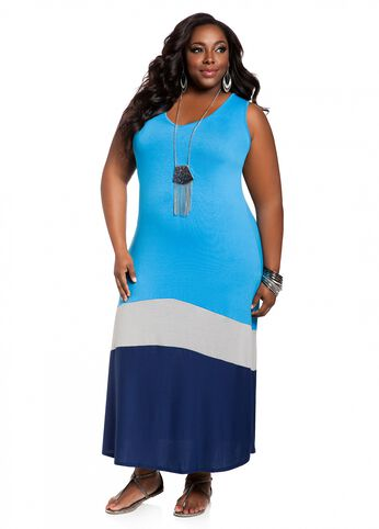 V-neck Color Block Maxi