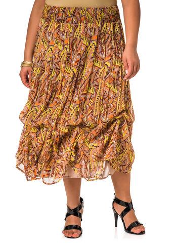 Tribal Print Long Bubble Skirt