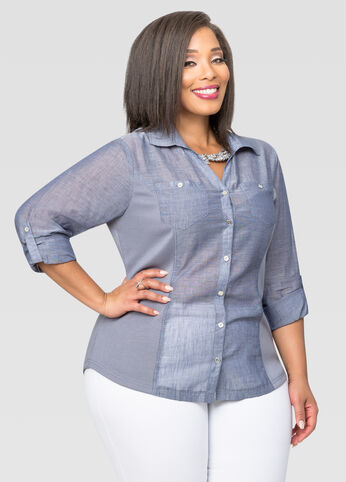 Knit Side Chambray Button Front Shirt