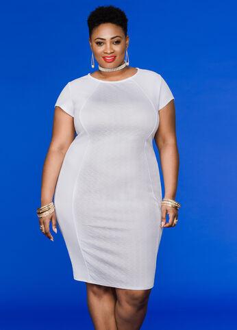 Textured Hourglass Bodycon Dress White - Dresses