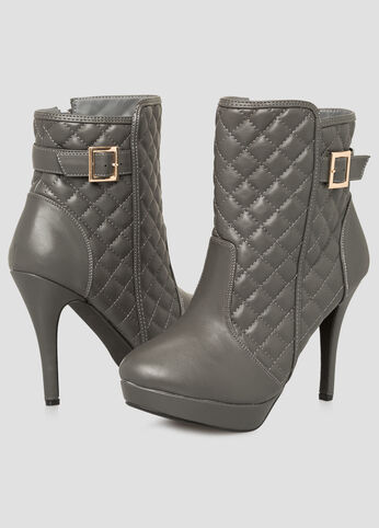 Quilted Platform Ankle Bootie -Wide Width