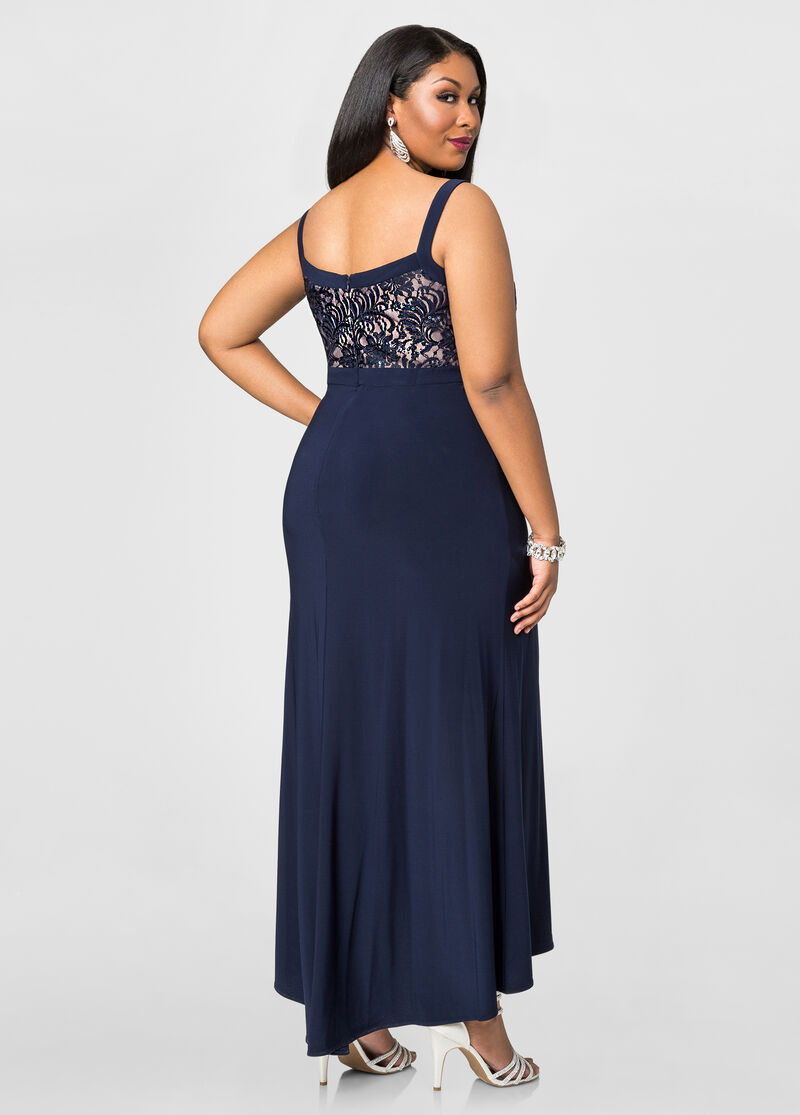 Front Slit Special Occasion Dress-Plus Size Dresses-Ashley ...