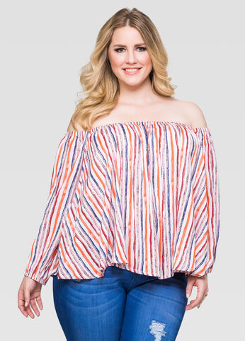 Off-Shoulder Peasant Blouse