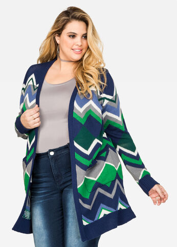 Long Geo Cardigan Sweater