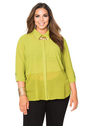 Sheer Hem Split Back Blouse