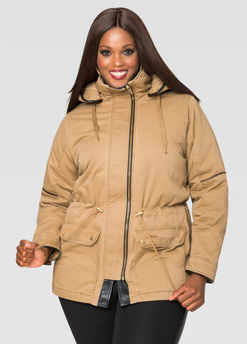 Faux Leather Trim Anorak Coat