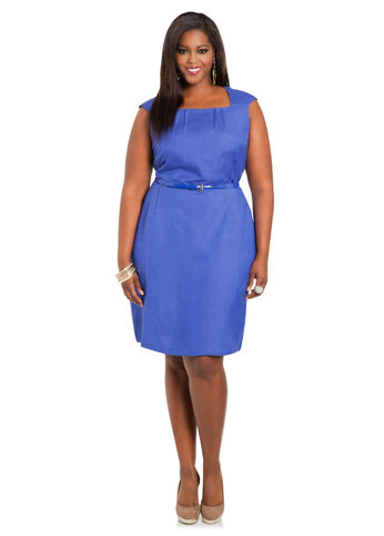 Solid Linen Sheath Dress