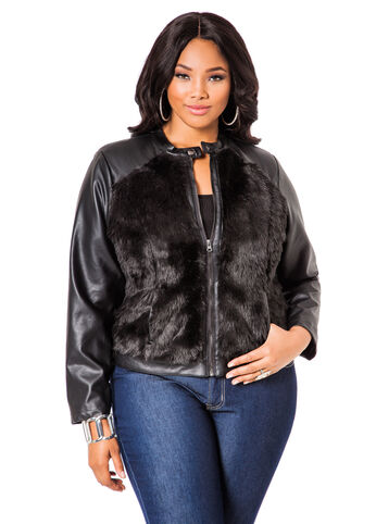 Short Pleather and Faux Fur Jacket