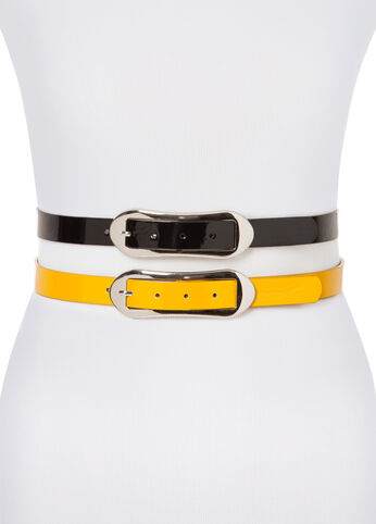 Patent Leather Belt Duo