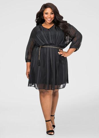 Shadow Stripe Chain Belt Dress Black - Dresses