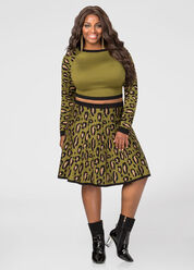 Leopard Flippy Sweater Skirt
