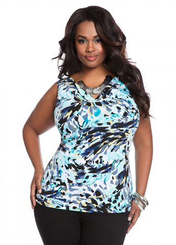 Sleeveless Abstract Print Top