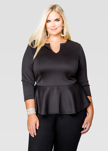 Notched Scuba Peplum Top
