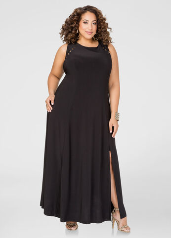 Studded Front Slit Maxi Dress