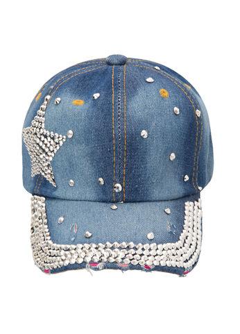 Denim Stud Star Baseball Hat