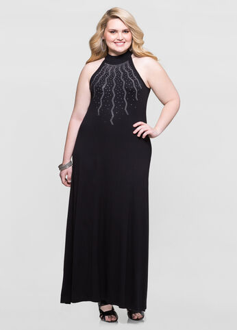 Starburst Stud Mock Neck Maxi Dress