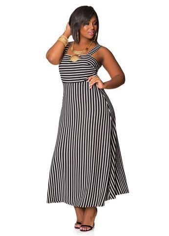 Textured Stripe Tank Maxi Dress