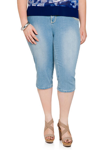 Heavy Stitch Denim Capris
