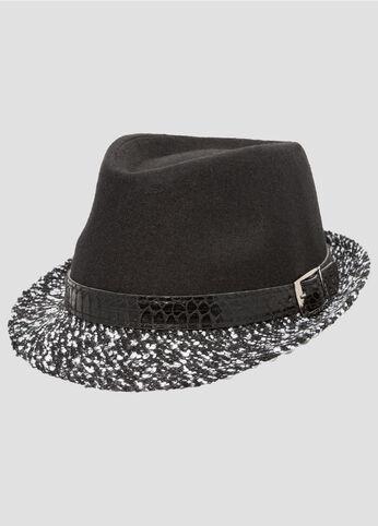 Croc Band Contrast Brim Fedora Hat
