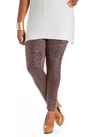 Faux Leather Animal Print Legging