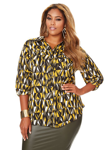 Printed Two Pocket Blouse