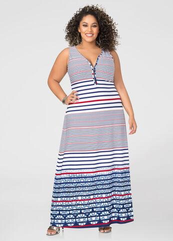 Stars And Stripes Zip Maxi Dress
